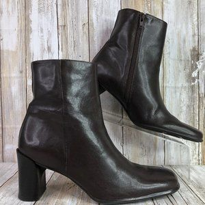 Casual Corner Brown Leather Ankle Boots